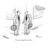 """I see you brought the pie charts."" - New Yorker Cartoon Premium Giclee Print by Leo Cullum"