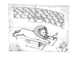 Operating theater where mouse is removing thorn from Lion's foot. - New Yorker Cartoon Premium Giclee Print by John O'brien