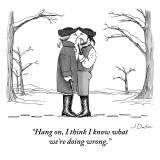 """Hang on, I think I know what we're doing wrong."" - New Yorker Cartoon Premium Giclee Print by Joe Dator"