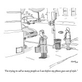 """""""I'm trying to call as many people as I can before my phone goes out of st…"""" - New Yorker Cartoon Premium Giclee Print by Mark Thompson"""