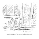 """I didn't go anywhere this summer. I was home-camped."" - New Yorker Cartoon Premium Giclee Print by Barbara Smaller"