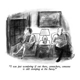 """""""I was just wondering if out there, somewhere, someone is still stomping a…"""" - New Yorker Cartoon Premium Giclee Print by Stan Hunt"""