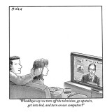 """""""Whaddaya say we turn off the television, go upstairs, get into bed and tu…"""" - New Yorker Cartoon Premium Giclee Print by Harry Bliss"""