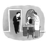 Man in tuxedo waiting for date to finish getting her Botox injection. - New Yorker Cartoon Premium Giclee Print by Marshall Hopkins