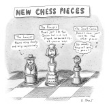 Three chess pieces are seen on a chess board assuming new identities.  - New Yorker Cartoon Premium Giclee Print by Roz Chast