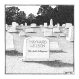 Gravestone for Maynard Wilson says, 'The Bull Whisperer'. - New Yorker Cartoon Premium Giclee Print by Matthew Diffee