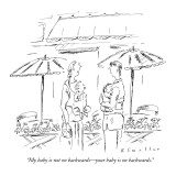 """My baby is not on backwards—your baby is on backwards."" - New Yorker Cartoon Premium Giclee Print by Barbara Smaller"