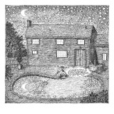 Man fishes stars out of his pool at nighttime.  - New Yorker Cartoon Premium Giclee Print by John O&#39;brien
