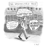 A man is seen walking down the sidewalk with word bubbles around him decla… - New Yorker Cartoon Premium Giclee Print by Roz Chast