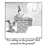 """Try rolling on the ground!  Roll around on the ground!"" - New Yorker Cartoon Premium Giclee Print by Harry Bliss"