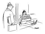 "Beggar holds a sign that reads, ""Past Performances were No Indication of F… - New Yorker Cartoon Premium Giclee Print by Frank Modell"