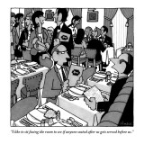 """I like to sit facing the room to see if anyone seated after us gets serve…"" - New Yorker Cartoon Premium Giclee Print by William Haefeli"