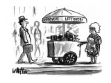 A grandmother is selling leftovers in the streets - New Yorker Cartoon Premium Giclee Print by Warren Miller