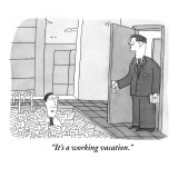 """It's a working vacation."" - New Yorker Cartoon Premium Giclee Print by Peter C. Vey"