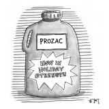 A  bottle of prozac labeled 'Now In Holiday Strength.' - New Yorker Cartoon Premium Giclee Print by Christopher Weyant