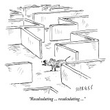 """Recalculating ... recalculating …"" - New Yorker Cartoon Premium Giclee Print by David Sipress"
