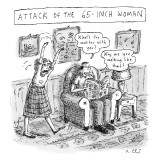 """Attack of the 65-inch Woman."" A woman walks like a zombie into the living…"" - New Yorker Cartoon Premium Giclee Print by Roz Chast"