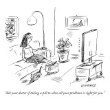 """Ask your doctor if taking a pill to solve all your problems is right for …"" - New Yorker Cartoon Premium Giclee Print by David Sipress"