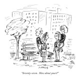 """Seventy-seven.  How about yours?"" - New Yorker Cartoon Premium Giclee Print by David Sipress"