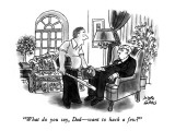 """What do you say, Dad—want to hack a few?"" - New Yorker Cartoon Premium Giclee Print by Joseph Farris"