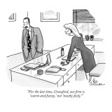 """For the last time, Crawford, our firm is 'warm and fuzzy,' not 'touchy-fe…"" - New Yorker Cartoon Premium Giclee Print by Leo Cullum"