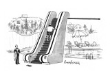 The rich man taking an escalator to his diving board. - New Yorker Cartoon Premium Giclee Print by Mort Gerberg