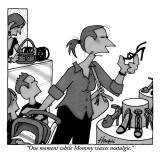 """""""One moment while Mommy waxes nostalgic."""" - New Yorker Cartoon Premium Giclee Print by William Haefeli"""