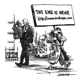 Man carries a picket sign that reads &#39;The End is Near http://www.endnear.com.&#39; - New Yorker Cartoon Premium Giclee Print by Robb Armstrong
