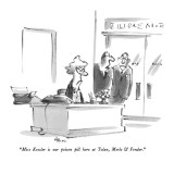 """Miss Kessler is our poison pill here at Tolan, Merle & Fender."" - New Yorker Cartoon Premium Giclee Print by Lee Lorenz"