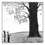 "A man and woman look at a single tree in a field—its leaves spell out ""Go … - New Yorker Cartoon Premium Giclee Print by Harry Bliss"