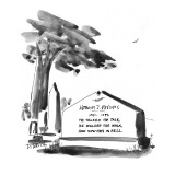 "Gravestone reads:  ""He talked the talk, He walked the walk, And now he's i… - New Yorker Cartoon Premium Giclee Print by Donald Reilly"