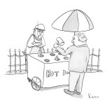 Hot-dog cart resembles whack-a-mole game, but with hot-dogs. - New Yorker Cartoon Premium Giclee Print by Zachary Kanin