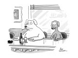 Meek little dog sits at bar next to big tough dog, who has the words BAD D… - New Yorker Cartoon Premium Giclee Print by Leo Cullum
