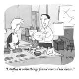 """I stuffed it with things found around the house."" - New Yorker Cartoon Premium Giclee Print by Peter C. Vey"