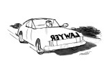 "Man drives car with the word ""lawyer"" written backwards across the front b… - New Yorker Cartoon Premium Giclee Print by Mischa Richter"