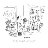 """Are these beautiful?  I can't ever tell."" - New Yorker Cartoon Premium Giclee Print by David Sipress"
