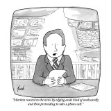 """""""Markets reacted to the news by edging aside kind of awkwardly and then pr…"""" - New Yorker Cartoon Premium Giclee Print by Tom Toro"""