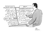 """Man in greeting card aisle, takes a card from the """"Self-Congratulations"""" s… - New Yorker Cartoon Premium Giclee Print by Leo Cullum"""