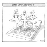 Three people perform traditional Irish dance on top of an oversize calculator. - New Yorker Cartoon Premium Giclee Print by Jack Ziegler