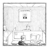 Office with poster on the wall for 'C.E.O. Of The Month.' - New Yorker Cartoon Premium Giclee Print by Matthew Diffee