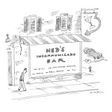 Ned's Incommunicado Bar advertises a lack of wi-fi, cellphone service, rad… - New Yorker Cartoon Premium Giclee Print by Michael Maslin