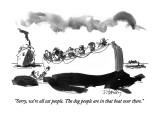 """Sorry, we're all cat people.  The dog people are in that boat over there."" - New Yorker Cartoon Premium Giclee Print by Donald Reilly"
