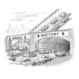 Two lanes of traffic under highway signs: Bronx with up-arrows to bridge o… - New Yorker Cartoon Premium Giclee Print by Mort Gerberg