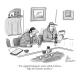 """I've stopped looking for work, which, I believe, helps the economic numbers."" - New Yorker Cartoon Premium Giclee Print by Leo Cullum"