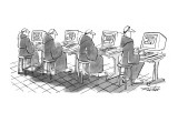 Four monks sit at computer terminals. Parchment scrolls appear on the screens. - New Yorker Cartoon Premium Giclee Print by Mischa Richter