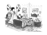 Woman preparing to wake her husband with cymbals. - New Yorker Cartoon Premium Giclee Print by Bernard Schoenbaum
