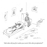 """And when did you first realize you weren't like other precipitation?"" - New Yorker Cartoon Premium Giclee Print by Michael Maslin"