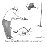 """Let me just tap this in, Greg, then you can putt out."" - New Yorker Cartoon Premium Giclee Print by Michael Crawford"