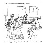 """He looks very promising—but let's see how he does on the written test."" - New Yorker Cartoon Premium Giclee Print by Sidney Harris"