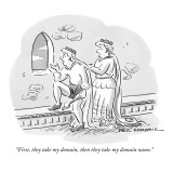 """First, they take my domain, then they take my domain name."" - New Yorker Cartoon Premium Giclee Print by Paul Karasik"